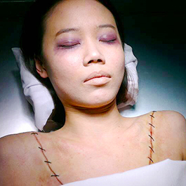 2015「鑑識英雄」女Y字型胸腔切口特效化妝 Prosthetics Make-up Effects of sutured Y-shaped incision (TV Series CSIC)